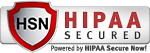 HIPAA Secured, Powered by HIPAA Secure Now! silver badge     with red shield